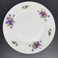"Fine Seyei China Violette 10"" Dinner Plate Purple Flowers Vintage"