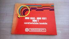 Innocenti Mini 1000 1001 T Manuale Officina 1972 ORIGINALE Italiano
