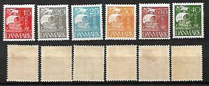 DENMARK STAMPS 1927 SET COMPLETE CARAVEL. Sc.#192-197, MLH