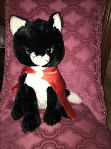 "Super Cat Red Cape Unipak black 11"" Soft Stuffed Plush Kitten Green Big Eyes tag"