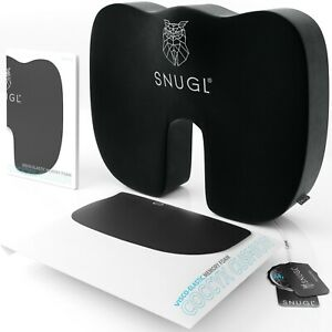 SNUGL Coccyx Cushion - Pressure and Pain Relief on the Tailbone, Sciatica, Back