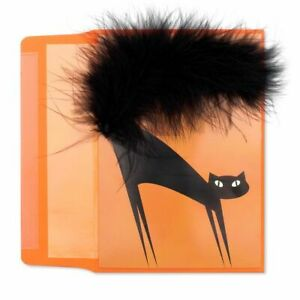 Papyrus Halloween Card - Black Cat with Green Foil Eyes and Real Black Feathers