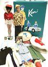 Vintage 1960s Mattel Barbie & Ken Dolls, Teal Case w/ Clothes & Accessories Lot