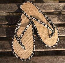 Ladies Straw Flip Flops Black Floral Small/Medium/Large