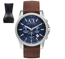 Armani Exchange Men's Chronograph Watch Brown/Navy Leather Strap AX2501 RRP £150