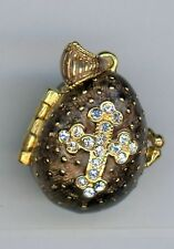 Russian Faux Egg Pendant w/clear Crystal Cross, Brown, gold band opens Angel