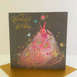 Cherry Orchard Female Have A Wonderful Birthday Card Pink Dress Butterfly/EL012