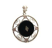 Estate Ladies 10K Yellow Gold Black Onyx & Diamond Pendant.no chain. 25mm
