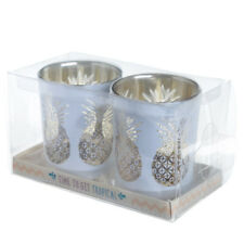 Glas Teelichthalter 2er Set Ananas Kerzenhalter Windlicht Kerze Dekobeleuchtung