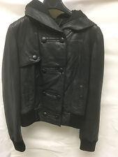 Muubaa Women's Leather Black Hooded Buttoned Jacket. RRP £229. UK 10. M1821.
