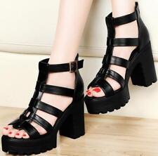 Womens Roman gladiator Chunky block Heels Platform Strappy Sandals buckle Shoes