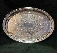"Vintage Oval Silver Plated Oval Tray 14""/10"""