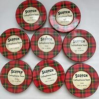 Lot of 8 Scotch Cellophane Tape No 600 Green & Red Plaid Tins