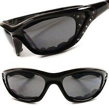Stylish Black Rhinestone Motorcycle Foam Padded Womens Biker Sunglasses E35A