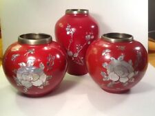 Set of 3 Antique Han Sung Dynasty Red Enamel Over Copper MOP & Abalone Marked