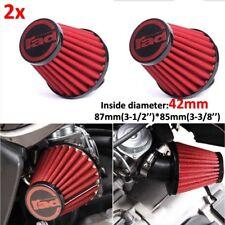 2x 42mm Motorcycle Red Air Filter Pod Cleaner For Honda Kawasaki Suzuki Yamaha