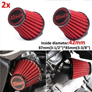 2x 42mm Motorcycle Red Air Filter Pod Cleaner For Honda Kawasaki Suzuki Yamaha