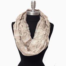 Men's Fashion Infinity Scarf Wrap 2-Circle Striped Beige White Soft HIGH QUALITY