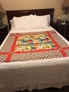 """Dinosaur quilt top for KIDS, Handmade quilt, 51"""" X 51"""", Bright colors A22"""