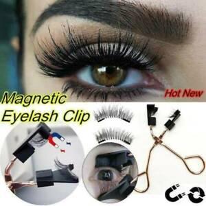 2 Pairs Waterproof Magnetic False Eyelashes Long Lashes Set + Eyelash Curler UK