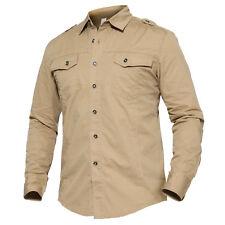 Army Mens MA-1 Tactical Long Sleeve Shirt Military Cargo Casual Shirts Hiking