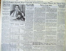 1947 NY Times newspaper JOE DiMAGGIO wins baseball MVP overTED WILLIAMS by1point