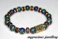 Natural Chrysocolla Gemstone Wood Rune Bracelet Healing Stone Elasticated UK