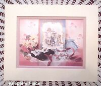 Glynda Turley Attention Company Signed Matted Print Victorian Girl Shoes Tea Set