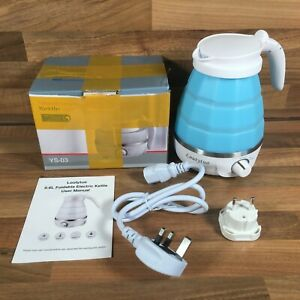 Loutytuo Silicone Folding Collapsible Portable Electric Blue Kettle 850W 600ML