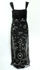Temperley London Womens Silk Black Silver Floaty Lined Evening Maxi Dress UK 12