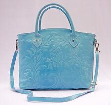 Edel Handtasche Schultertasche echt Leder blau Celebrity Made in Italy hellblau