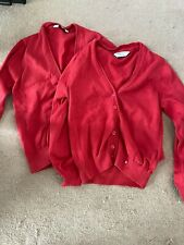 2 m&s red school cardigans age 5-6