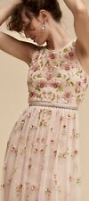 SALE NWT BHLDN Adrianna Papell 6 MELODY Pink Blush Allover Beads Prom Bridesmaid