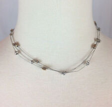 "Lightweight Choker Necklace Euc Signed 16-20"" Long Chicos 3-Strand Wire Delicate"