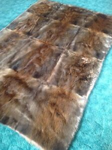 New Montana Beaver Fur Blanket/ leather sofa/log cabin