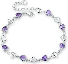 Pulsera Plata de ley 925 Mujer con Circonita Corazones Amor púrpura 20cm