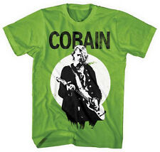 Nirvana-Kurt Cobain Standing Guitar Photo-X-Large Kiwi Green  T-shirt