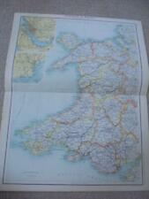MAP c1900 ENGLAND & WALES ANGLESEY Monmouth BARTHOLOMEW ATLAS COLOUR LITHOGRAPH
