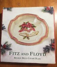 Fitz and Floyd Holiday Christmas Bells Canape Dessert Plate-2001-New-Ships Free