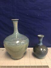Lot of 2 Studio Pottery Pot Flower Vase Ceramic Stoneware
