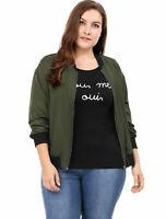 Women Plus Size Contrast Trim Zipper Pocket Bomber Jacket