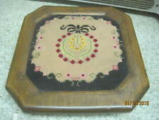 Antique Pine wood Footstool with Needlepoint Cover