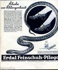 Erdal--Schuhe aus Schlangenhaut--Erdal Feinschuh Pflege--Werbung von 1930--