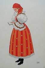 -2-5-28 Gravure costume de jeune paysanne de Veselany Tchécoslovaquie