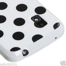 LG Nexus 4 Google Phone E960 CANDY SKIN TPU GEL COVER CASE WHITE BLACK DOTS