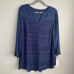 Zac & Rachel Women's Navy Blue Lace Front 3/4 Sleeve Top size XL  NWT