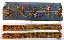 3 coupes bandes de tissu ancien 1900 en toile imprimée inpiration Louis XVI