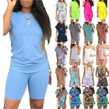 Women Summer Tracksuits Sets T-shirt Top + Shorts Summer Lounge Wear Casual Suit