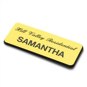 75mm x 30mm Personalised Engraved Staff Name Badge Pin (Yellow/Black)