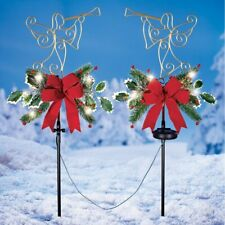 Set of 2 Solar Lighted Trumpeting Angel and Holly Christmas Garden Stakes